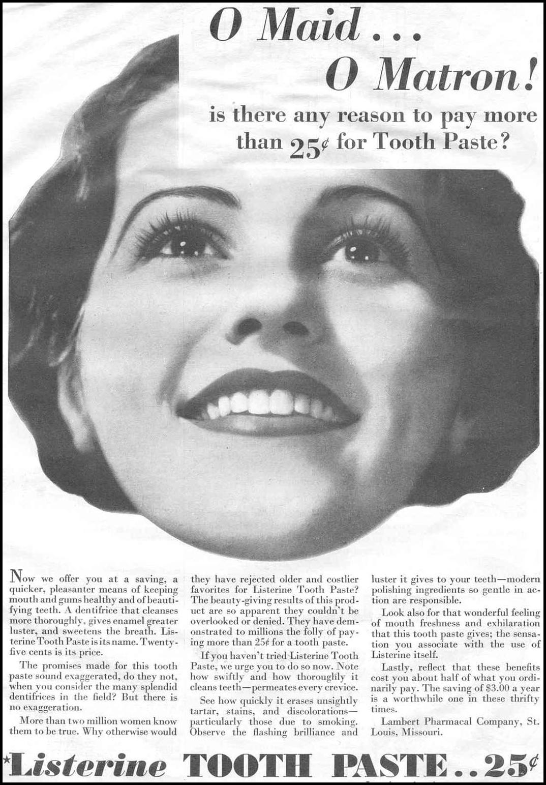 LISTERINE TOOTHPASTE GOOD HOUSEKEEPING 06/01/1933 p. 101