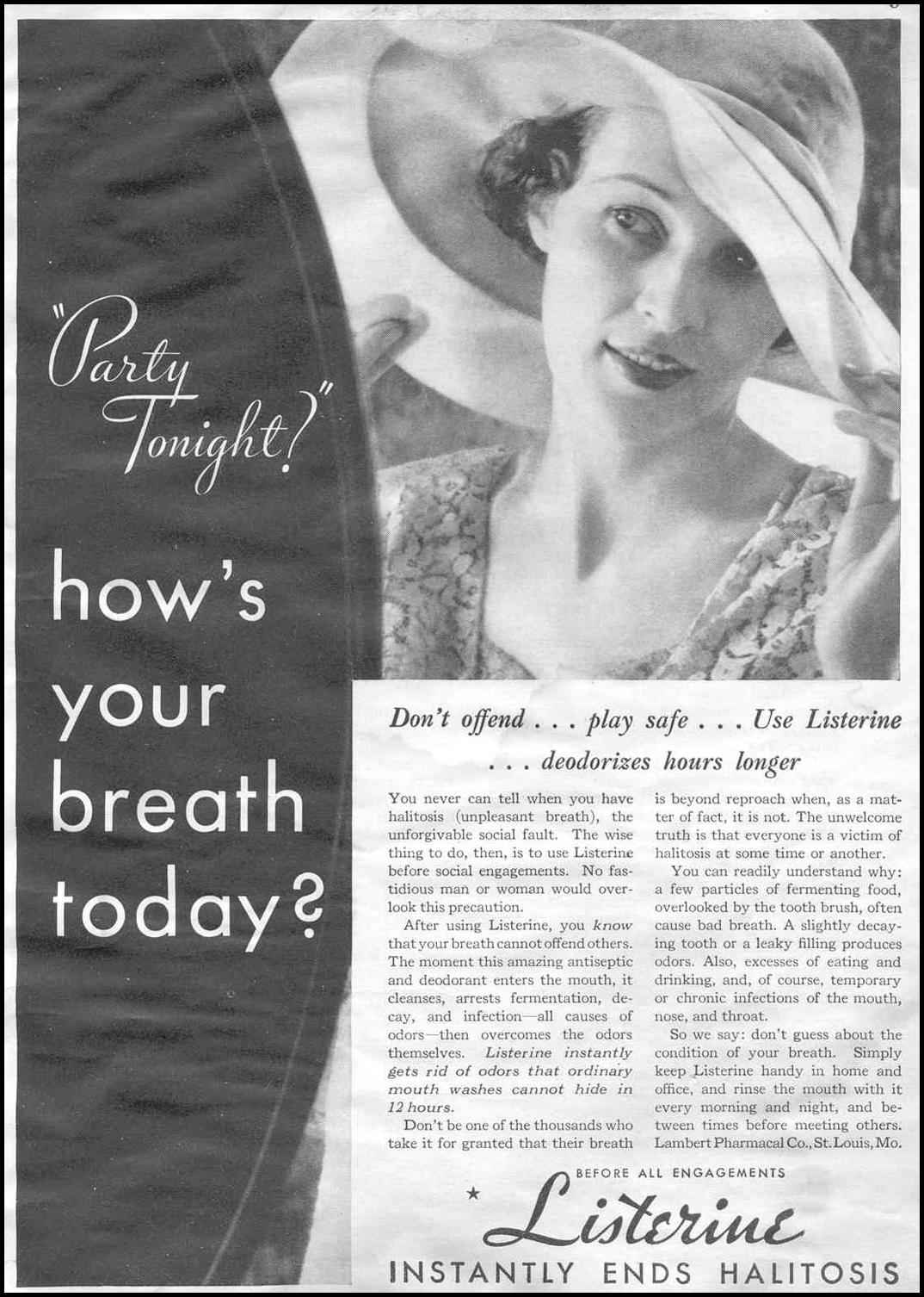 LISTERINE MOUTHWASH GOOD HOUSEKEEPING 06/01/1933 p. 3