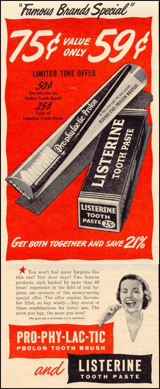 LISTERINE TOOTHPASTE LIFE 10/27/1947 p. 12