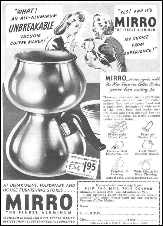 MIRRO VACUUM COFFEE MAKER GOOD HOUSEKEEPING 03/01/1940 p. 193