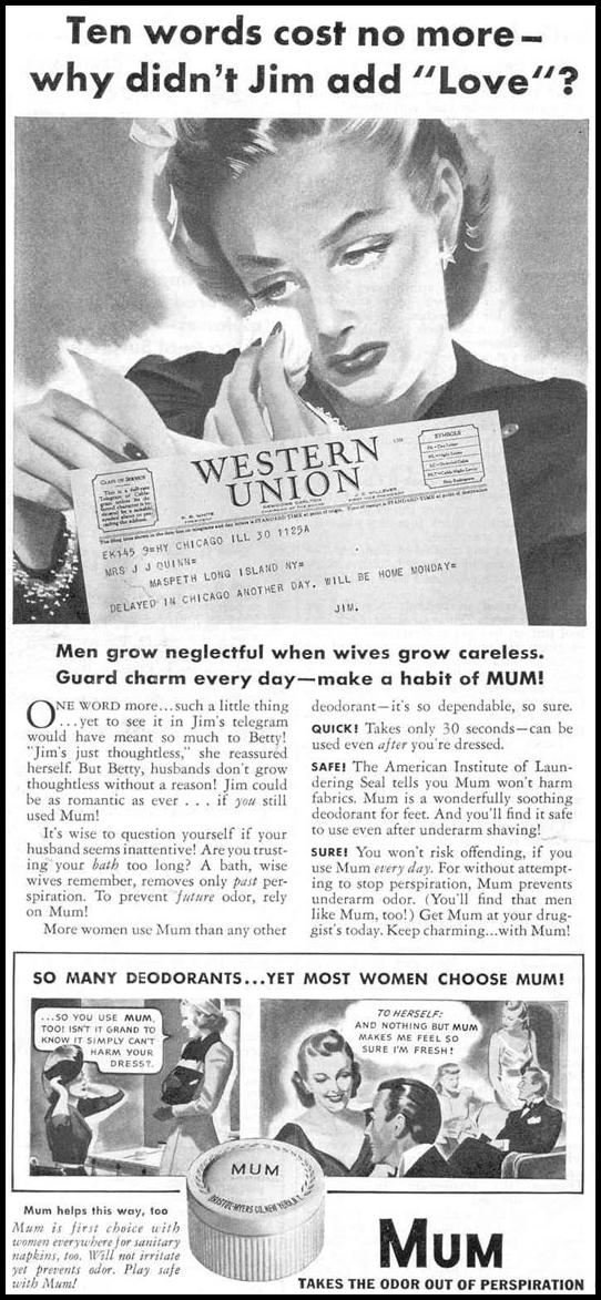 MUM DEODORANT GOOD HOUSEKEEPING 03/01/1940 p. 80