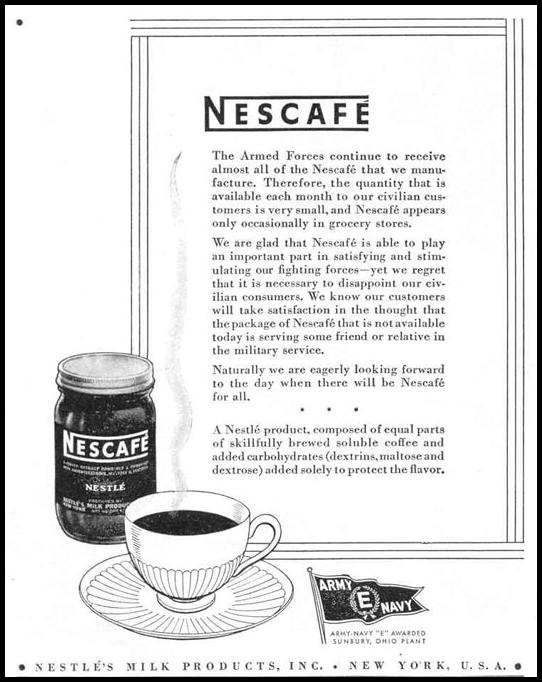 NESCAFE INSTANT COFFEE LIFE 12/20/1943 p. 102