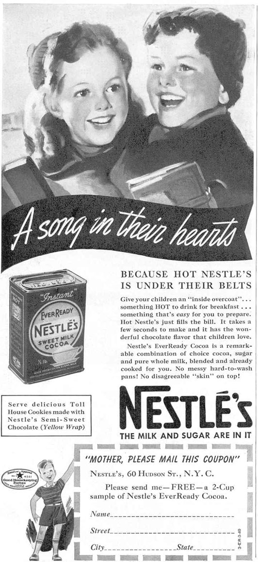 NESTLE'S EVER READY INSTANT COCOA GOOD HOUSEKEEPING 03/01/1940 p. 92