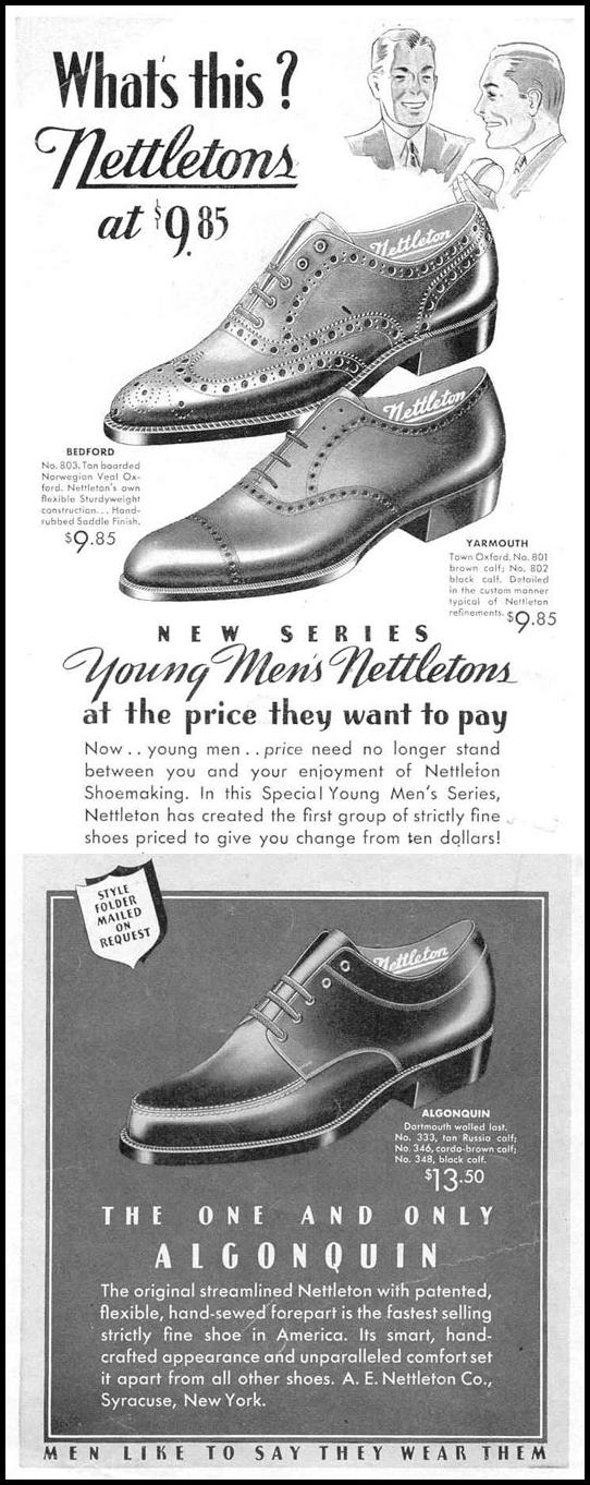 NETTLETON YOUND MEN'S SHOES LIFE 03/18/1940 p. 110