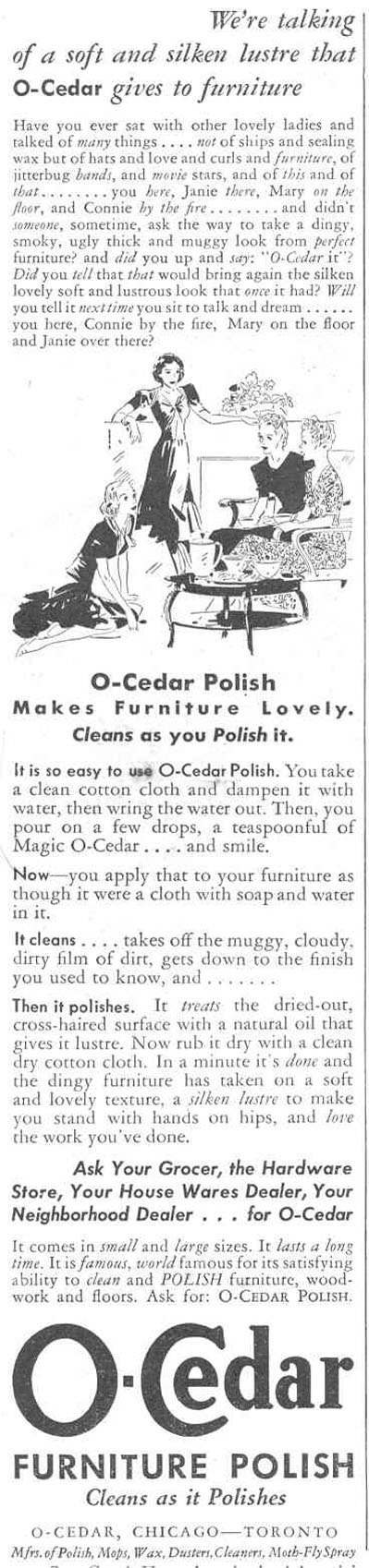 O-CEDAR FURNITURE POLISH GOOD HOUSEKEEPING 03/01/1940 p. 174