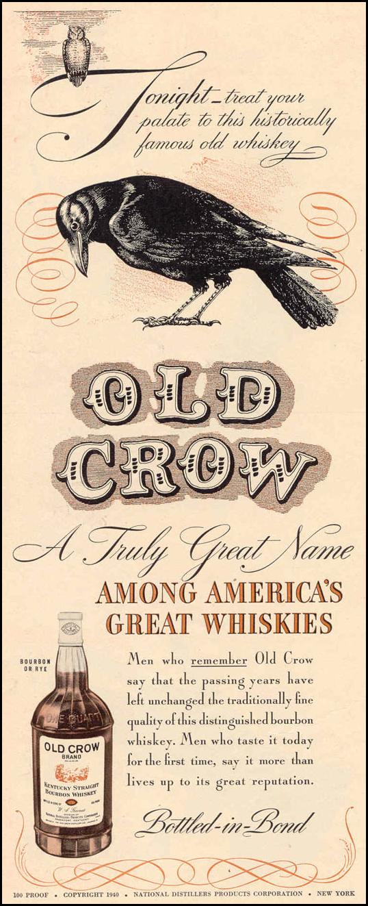 OLD CROW STRAIGHT KENTUCK BOURBON LIFE 03/18/1940 p. 64
