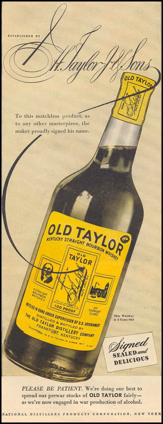 OLD TAYLOR KENTUCKY STRAIGHT BOURBON WHISKEY LIFE 12/20/1943 p. 54