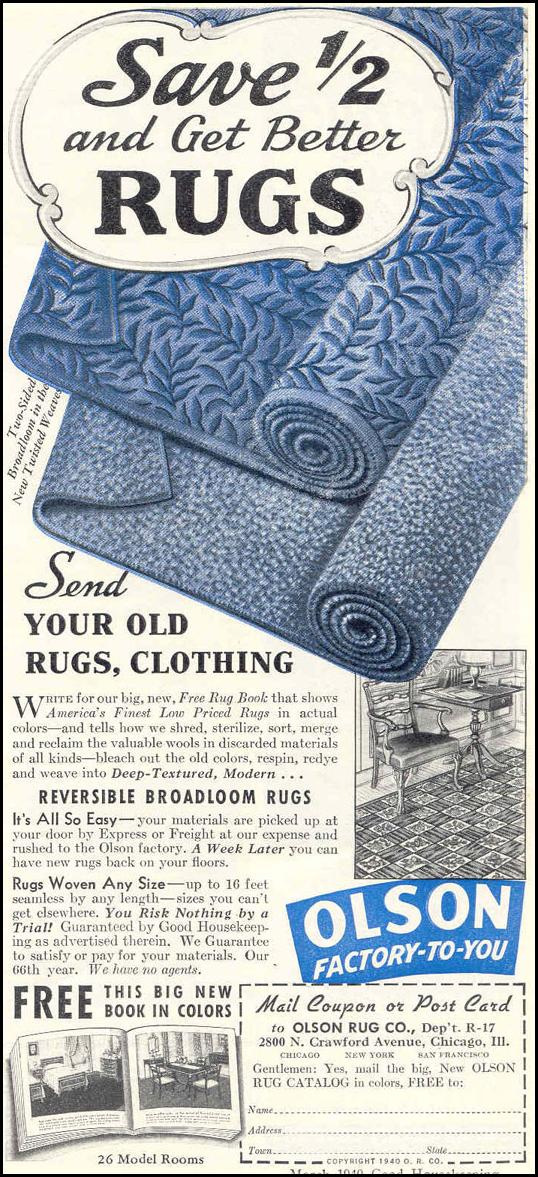 REVERSIBLE BROADLOOM RUGS GOOD HOUSEKEEPING 03/01/1940 p. 179