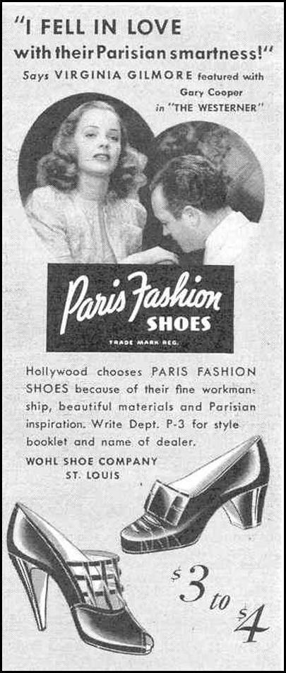 PARIS FASHION SHOES GOOD HOUSEKEEPING 03/01/1940 p. 198