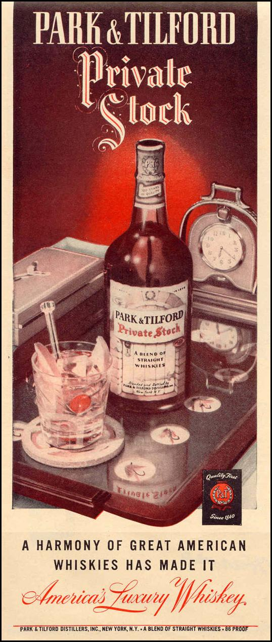 PARK AND TILFORD PRIVATE STOCK WHISKEY LIFE 12/20/1943 p. 58