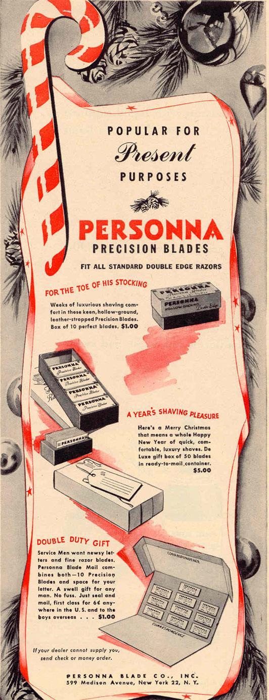 PERSONNA PRECISION RAZOR BLADES LIFE 12/20/1943 p. 121