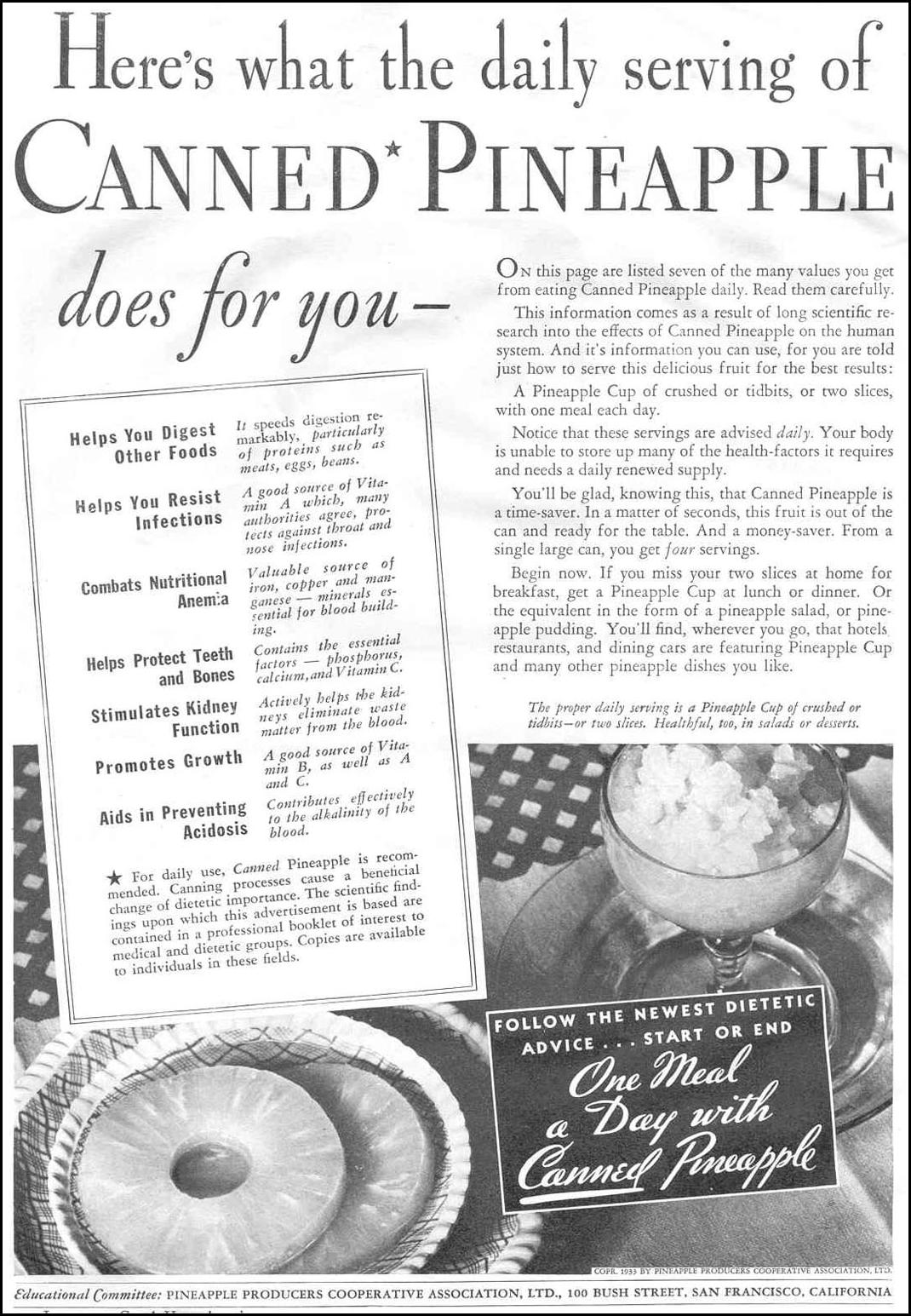 CANNED PINEAPPLE GOOD HOUSEKEEPING 06/01/1933 p. 122