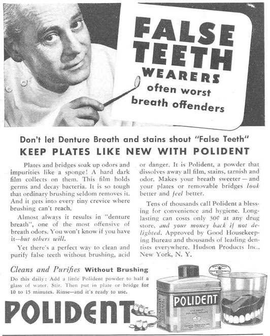 POLIDENT DENTURE CLEANSER GOOD HOUSEKEEPING 03/01/1940 p. 191