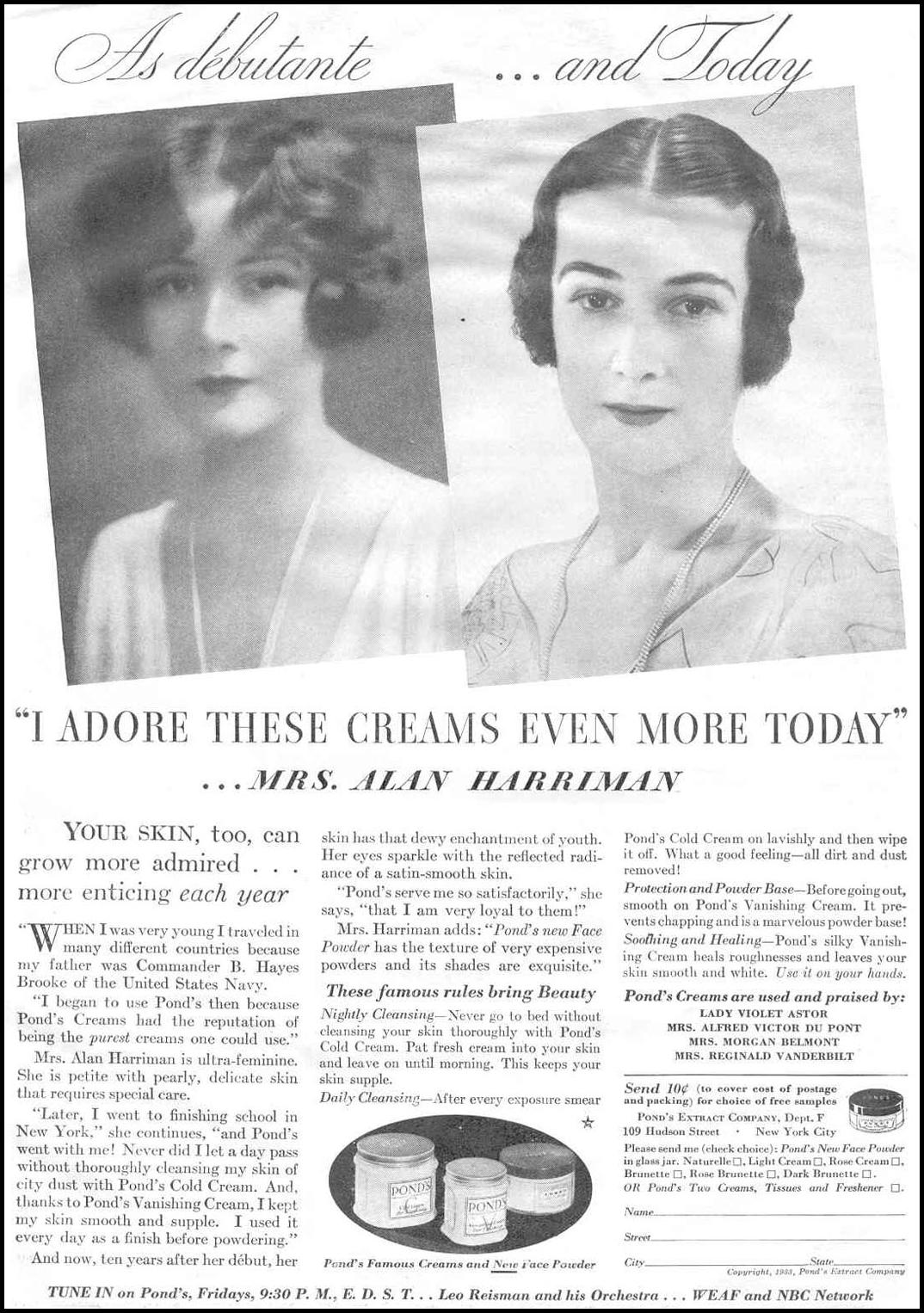 POND'S CREAMS GOOD HOUSEKEEPING 06/01/1933 p. 99