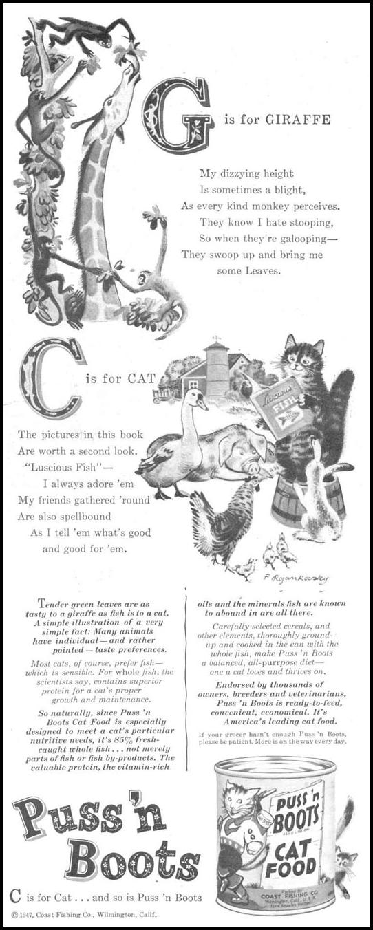 PUSS 'N BOOTS CAT FOOD LIFE 10/27/1947 p. 86