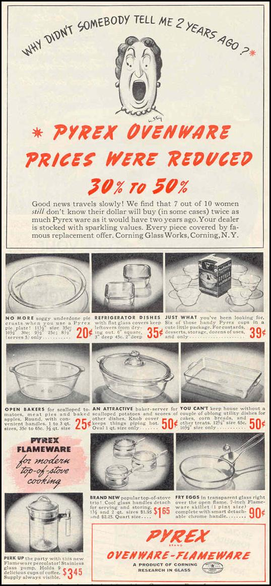 PYREX OVENWARE-FLAMEWARE GOOD HOUSEKEEPING 03/01/1940 p. 132