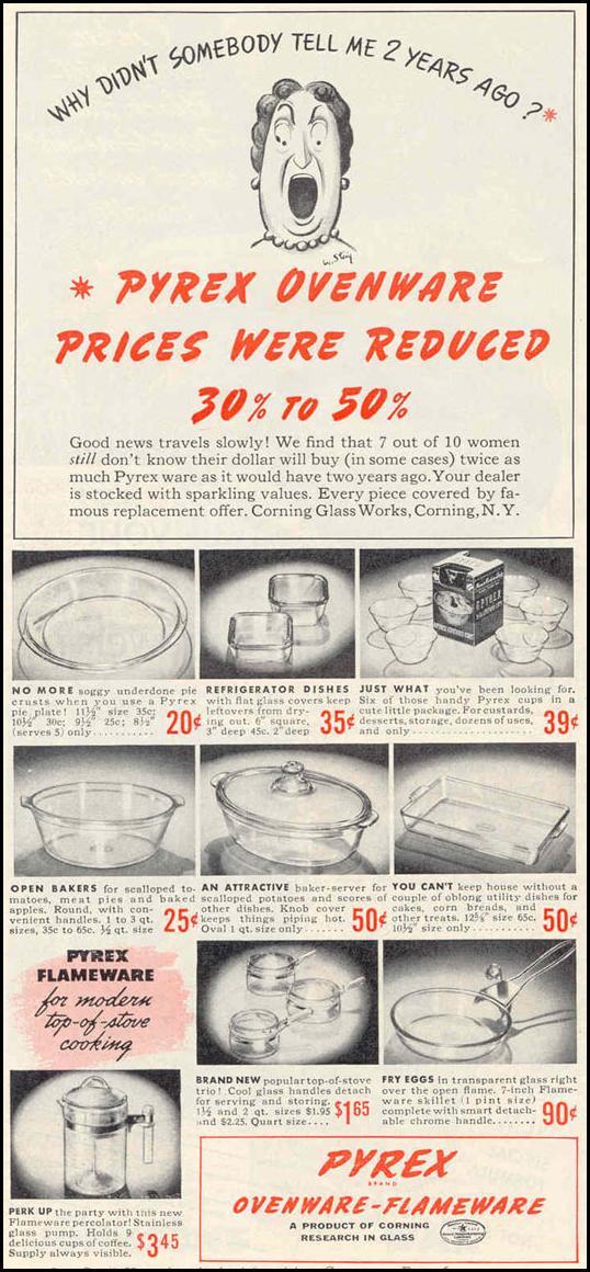 PYREX OVENWARE-FLAMEWARE GOOD HOUSEKEEPING 03/01/1940 p. 132