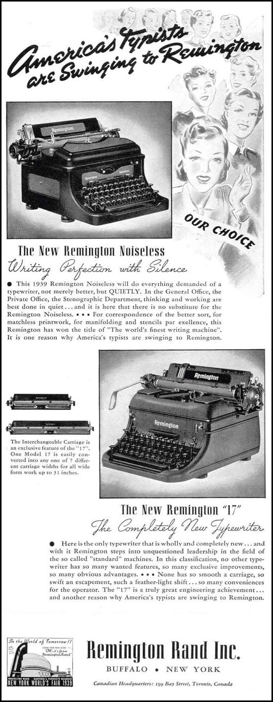 REMINGTON OFFICE TYPEWRITERS LIFE 02/20/1939 p. 9
