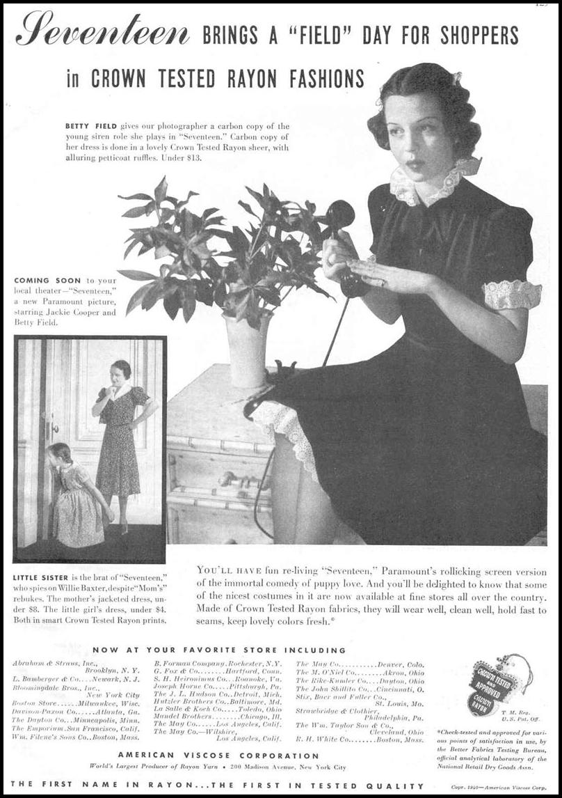 RAYON FABRICS & CLOTHING GOOD HOUSEKEEPING 03/01/1940 p. 129