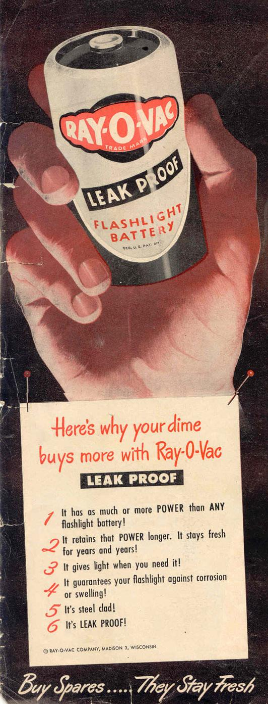 RAY-O-VAC LEAK PROOF BATTERIES LIFE 10/27/1947