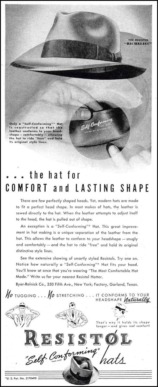 RESISTOL SELF-CONFORMING HAT LIFE 10/27/1947 p. 147