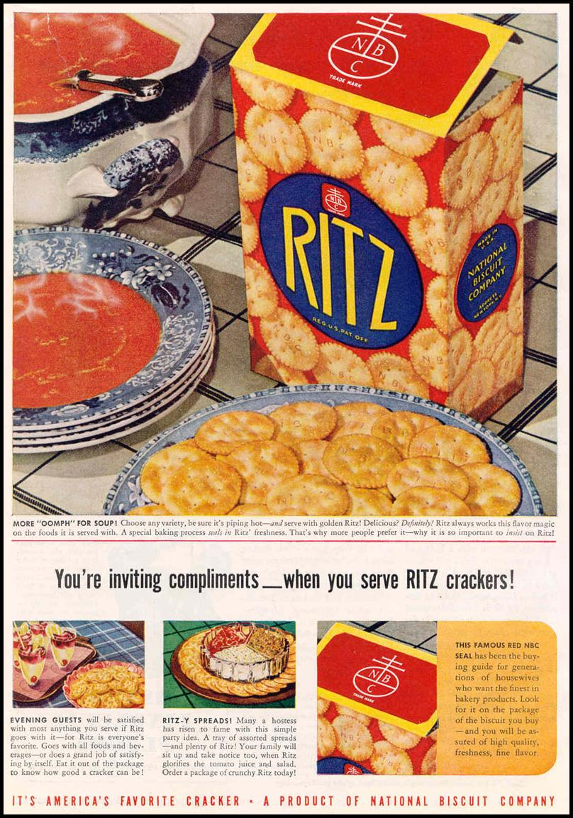 RITZ CRACKERS GOOD HOUSEKEEPING 03/01/1940 p. 16
