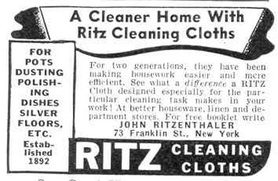 RITZ CLEANING CLOTHS GOOD HOUSEKEEPING 03/01/1940 p. 188