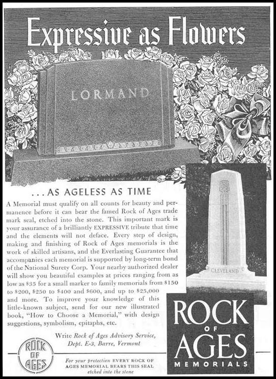 ROCK OF AGES MEMORIALS GOOD HOUSEKEEPING 03/01/1940 p. 205