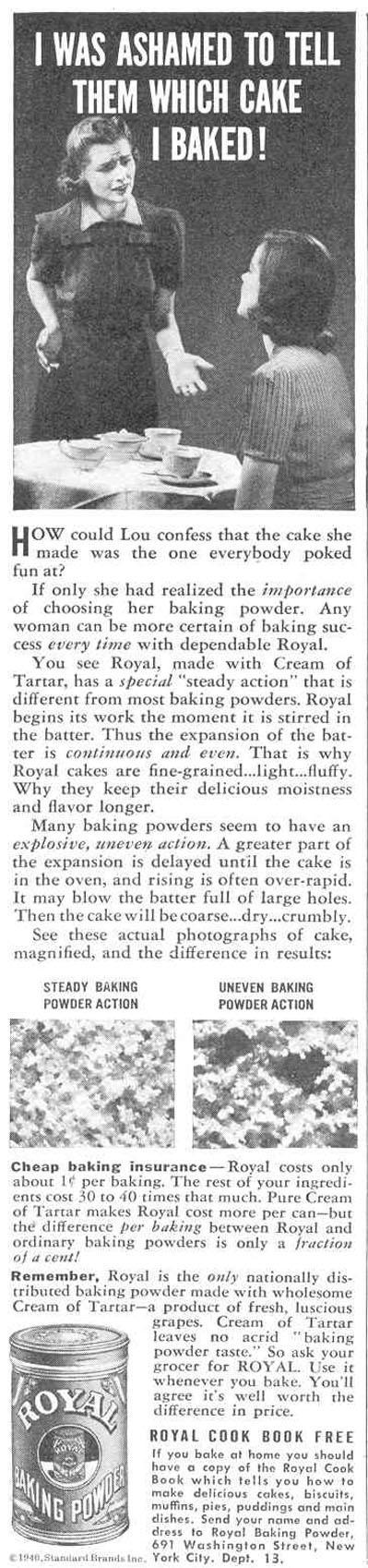 ROYAL BAKING POWDER GOOD HOUSEKEEPING 03/01/1940 p. 70