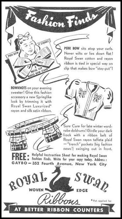 ROYAL SWAN RIBBONS GOOD HOUSEKEEPING 03/01/1940 p. 172