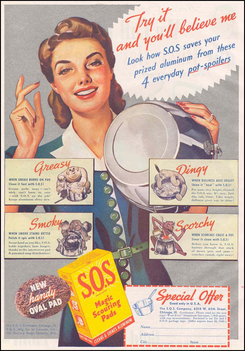 S.O.S MAGIC SCOURING PADS GOOD HOUSEKEEPING 03/01/1940 p. 102