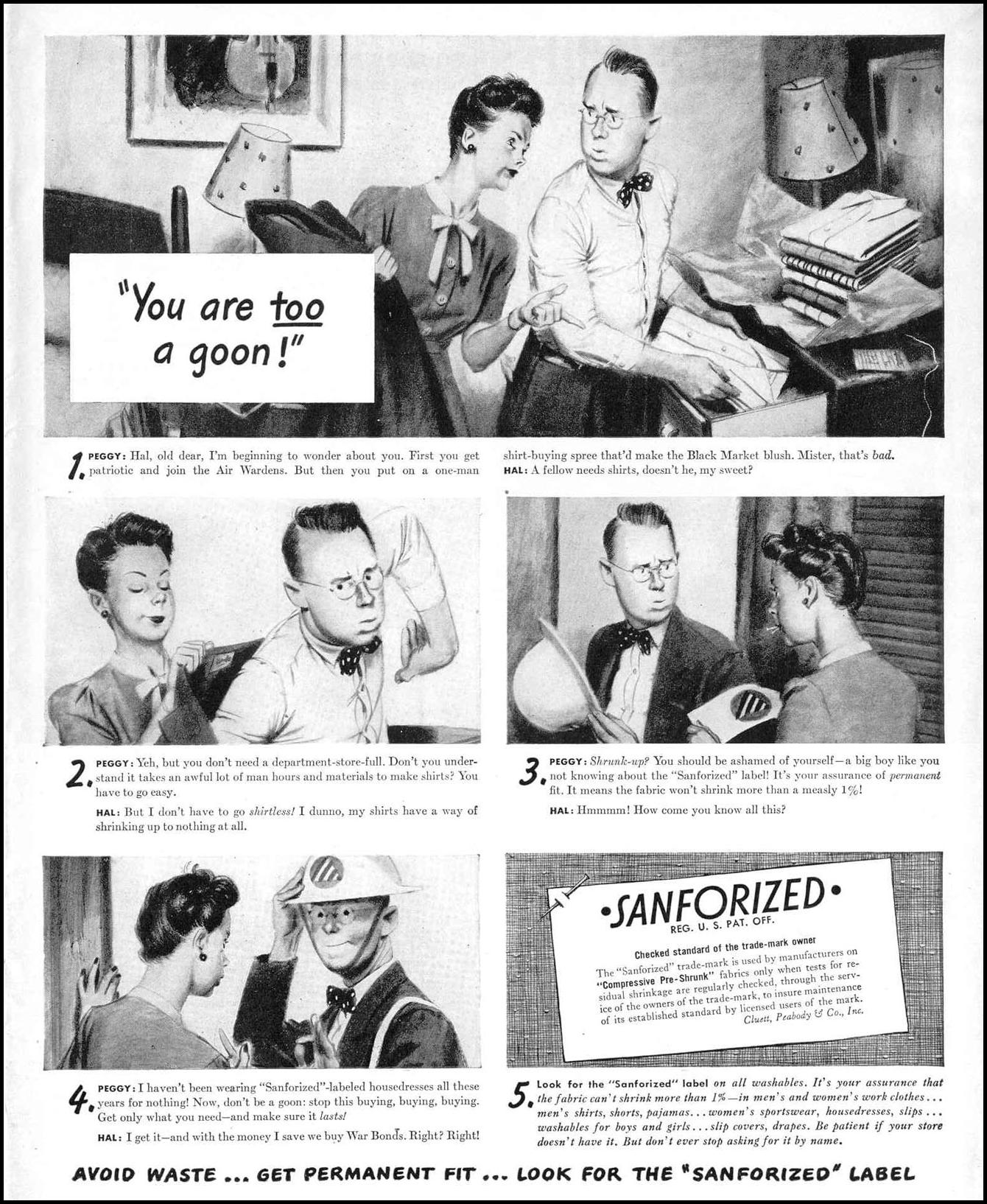 SANFORIZED PRE-SHRUNK FABRIC LIFE 11/01/1943 p. 1