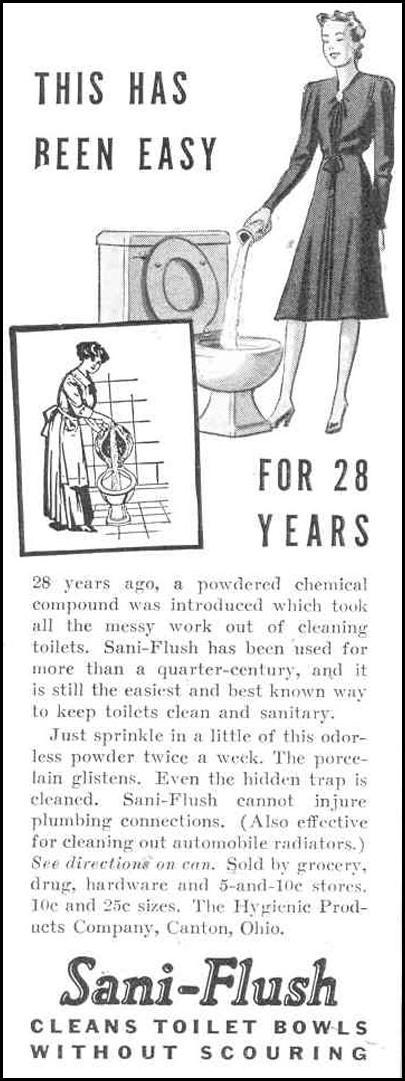 SANI-FLUSH TOILET BOWL CLEANER GOOD HOUSEKEEPING 03/01/1940 p. 188