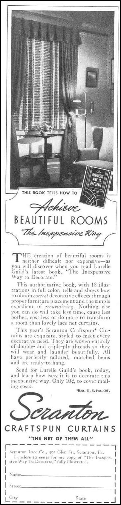 SCRANTON CRAFTSPUN CURTAINS GOOD HOUSEKEEPING 03/01/1940 p. 182