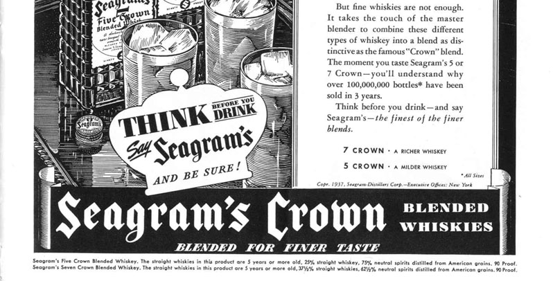 SEAGRAM'S CROWN BLENDED WHISKIES LIFE 09/06/1937 p. 67