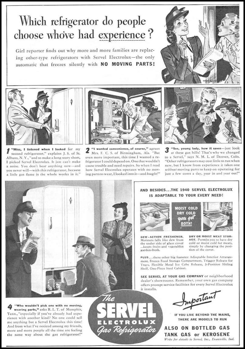SERVEL ELECTROLUX GAS REFRIGERATOR GOOD HOUSEKEEPING 03/01/1940 p. 95