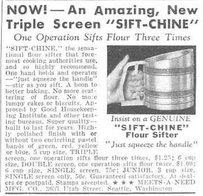 SIFT-CHINE FLOUR SIFTER GOOD HOUSEKEEPING 03/01/1940 p. 195