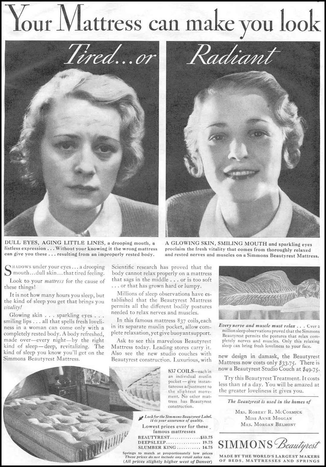 SIMMONS BEAUTYREST MATTRESS GOOD HOUSEKEEPING 06/01/1933 p. 125