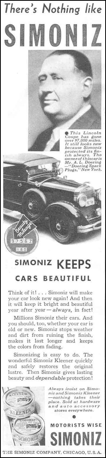 SIMONIZ CAR WAX GOOD HOUSEKEEPING 06/01/1933 p. 114
