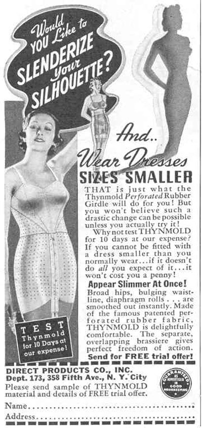 THYNMOLD PERFORATED RUBBER GIRDLE GOOD HOUSEKEEPING 03/01/1940 p. 198