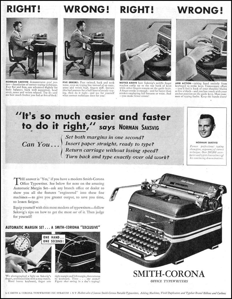 SMITH-CORONA OFFICE TYPEWRITERS LIFE 10/27/1947 p. 21