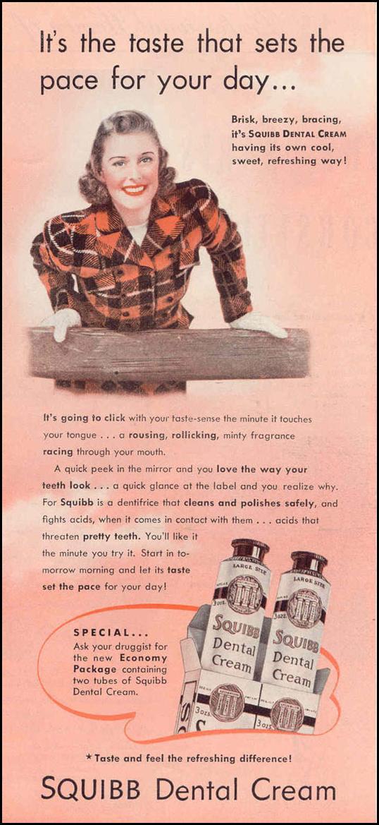 SQUIBB DENTAL CREAM GOOD HOUSEKEEPING 03/01/1940 p. 123