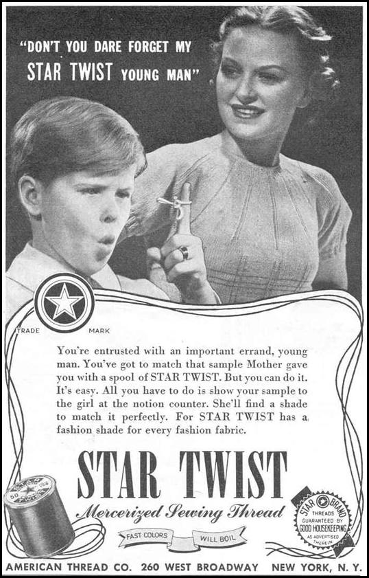STAR TWIST MERCERIZED SEWING THREAD GOOD HOUSEKEEPING 03/01/1940 p. 200