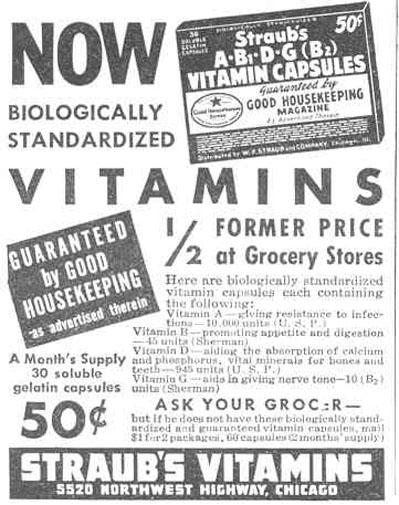 STRAUB'S VITAMIN CAPSULES GOOD HOUSEKEEPING 03/01/1940 p. 200