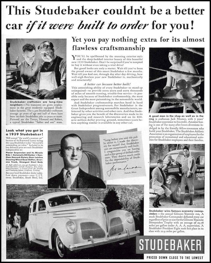 STUDEBAKER AUTOMOBILES LIFE 02/20/1939 p. 1