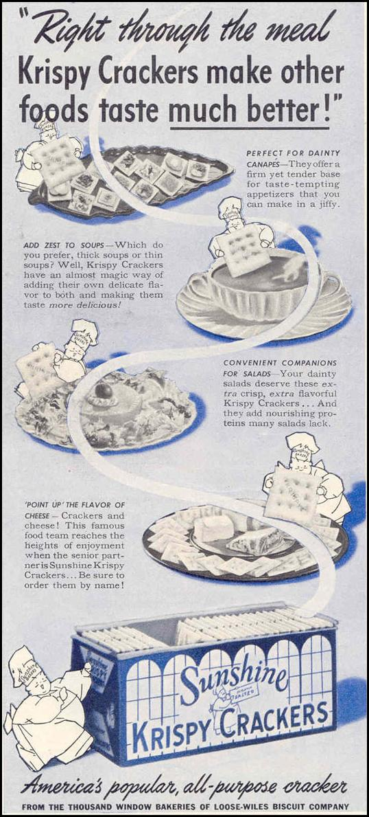 SUNSHINE KRISPY CRACKERS GOOD HOUSEKEEPING 03/01/1940 p. 218