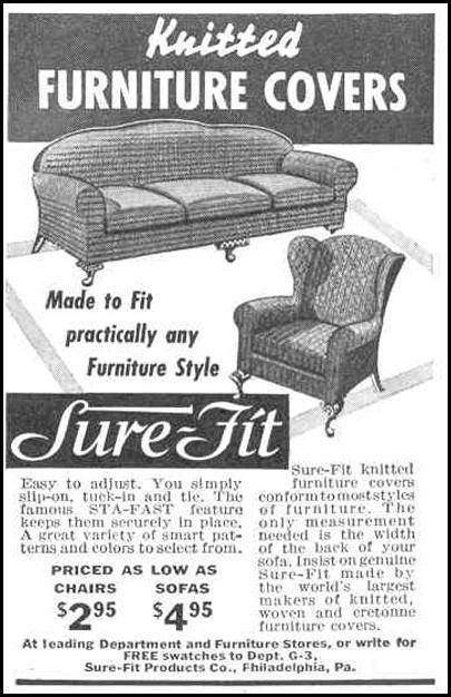 KNITTED FURNITURE COVERS GOOD HOUSEKEEPING 03/01/1940 p. 189
