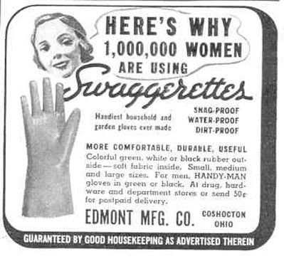 SWAGGERETTES RUBBER GLOVES GOOD HOUSEKEEPING 03/01/1940 p. 190