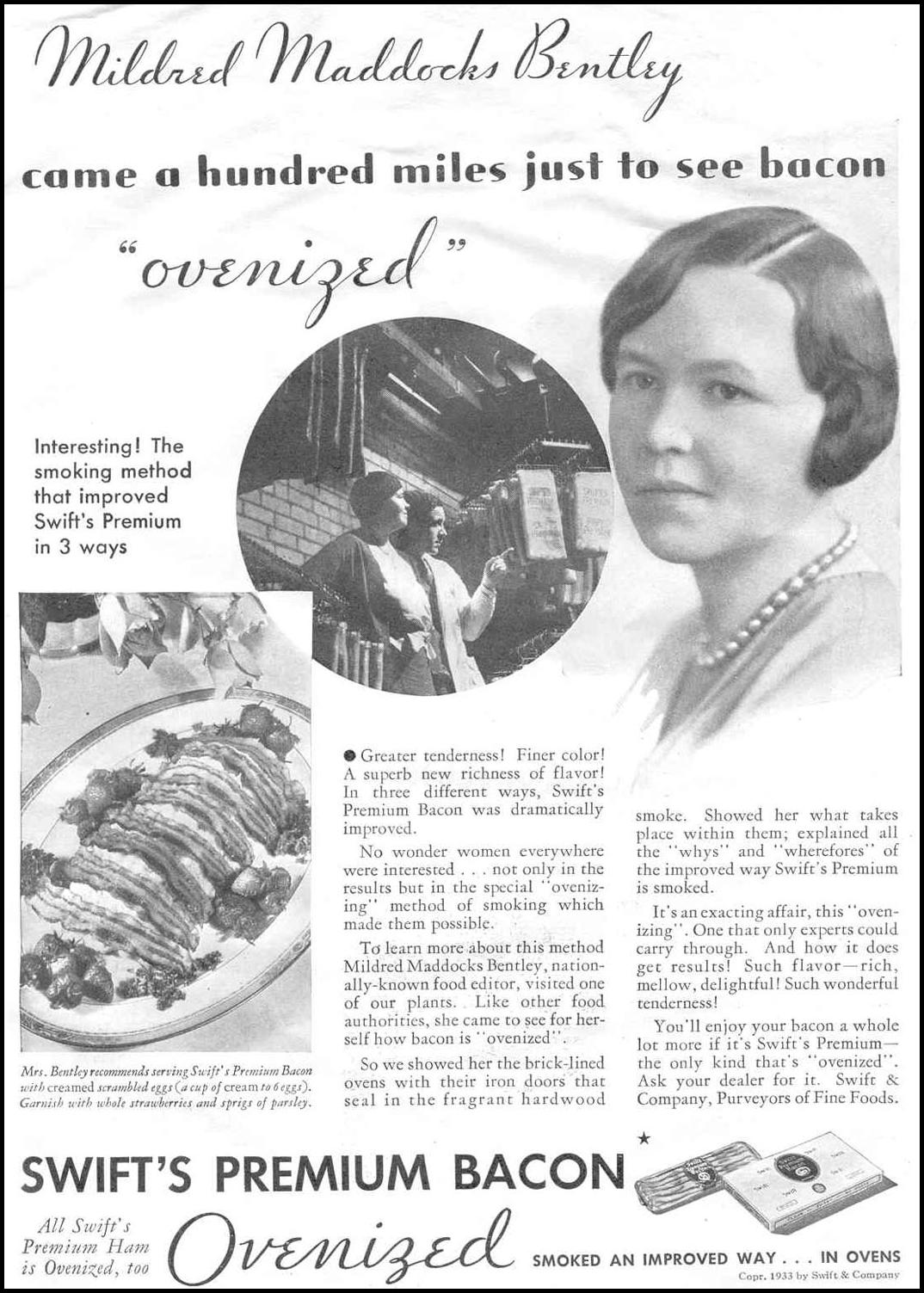 SWIFT'S PREMIUM BACON GOOD HOUSEKEEPING 06/01/1933 p. 105