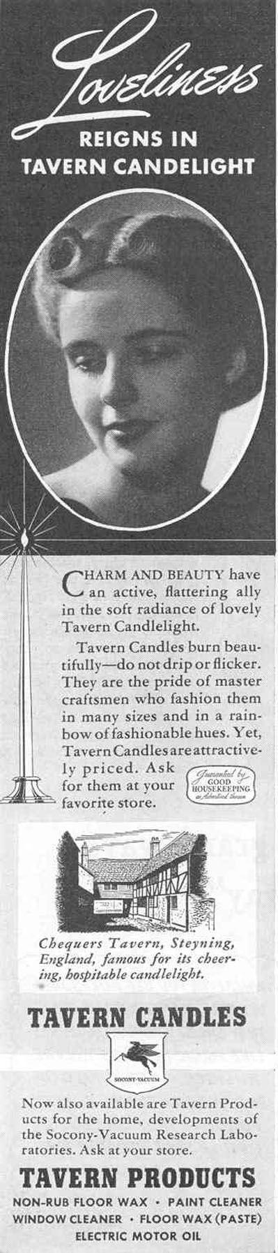 TAVERN CANDLES GOOD HOUSEKEEPING 03/01/1940 p. 68